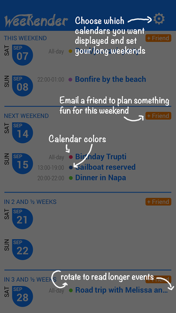 Weekender app intro screenshot